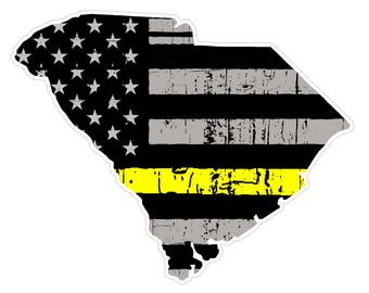South Carolina State (E41) Thin Yellow Line Dispatch Vinyl Decal Sticker Car/Truck Laptop/Netbook Window