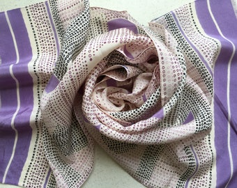 Vintage Long Pure Silk Scarf from France - Pale Lavender Stripes/Spots/Flowers - New Perfect and Unused from 1980s Stock