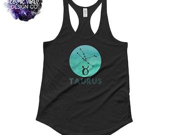 Taurus Watercolor Zodiac Women's Racerback Tank Top - Astrology Tank Top Shirt - Sun Sign Shirt - Gift Idea for Her