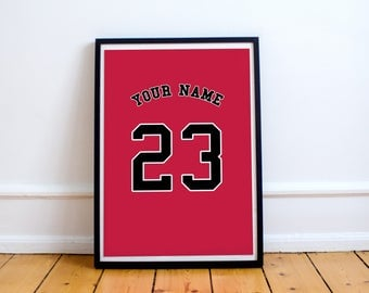 Chicago Bulls - Customisable Name and Number Print.