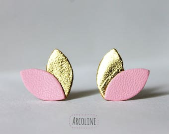 Earrings ° ° gold pink petal leather °