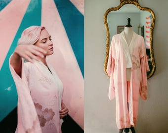 Vintage Handmade Silk Kimono Cotton Candy Pale Pink with Gold Splatter and Gold Clouds