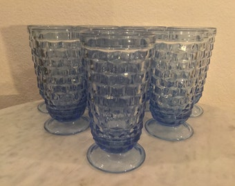 "Vintage Indiana Glass, Colony ""American Whitehall"" Set Of 8 Light Blue Water Glasses/Tumblers. Made In USA. Discontinued."