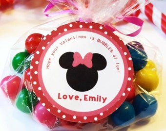 12 Minnie Mouse  Valentine's Favor Tags, Minnie Mouse Favor Stickers