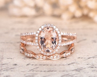 14K Rose Gold Morganite Engagement Ring Set 2pcs Diamond Wedding Rings Set 6x8mm Oval Pink Morganite Ring Diamond Eternity Band Split Band