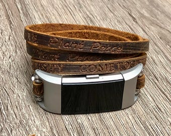 Luxury Leather Bracelet for Fitbit Charge 2 Tracker Handmade Multi Wrap Embossed Brown Fitbit Charge 2 Band 925 Silver Earth Magnet Clasp