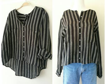 Vintage pure linen black x grey stripe  blouse