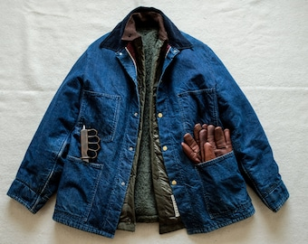 50's 60's Vintage Denim Chore Jacket Barn Coat Wool Blanket Lined Winter Indigo selvedge raw cone levis lvc rrl buzz rickson filson carhartt