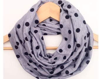 Womens infinity scarf grey black dots