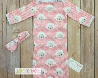 Easter gown, knot hat, and no scratch mittens, newborn set, girl baby, pink lambs