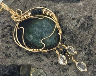 Green Tourmaline and NY Herkimer Diamond, Natural Tourmaline Crystal Slice 14k Gold Fill Wire Wrap Pendant with Quartz Crystals