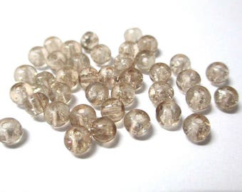 50 Brown Crackle Glass 4mm (N-6) beads