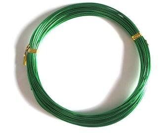 10 m Green Aluminum wire dark 1 mm reel
