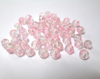 20 two-tone pink and white glass beads Crackle 4mm