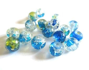 10 pearls blue and yellow Crackle and speckled 8mm (H-18)