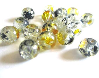 10 beads black and yellow Crackle and speckled 8mm (H-17)