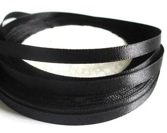 23 m 6mm black satin ribbon in reel