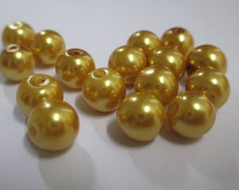 10 pearl beads gold painted glass 8mm (D-23)