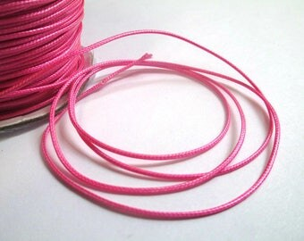 5 m thread cord pink polyester waxed 1 mm