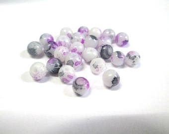 20 speckled purple and grey 4mm white glass beads