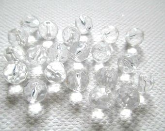 10 pearls faceted clear 6mm