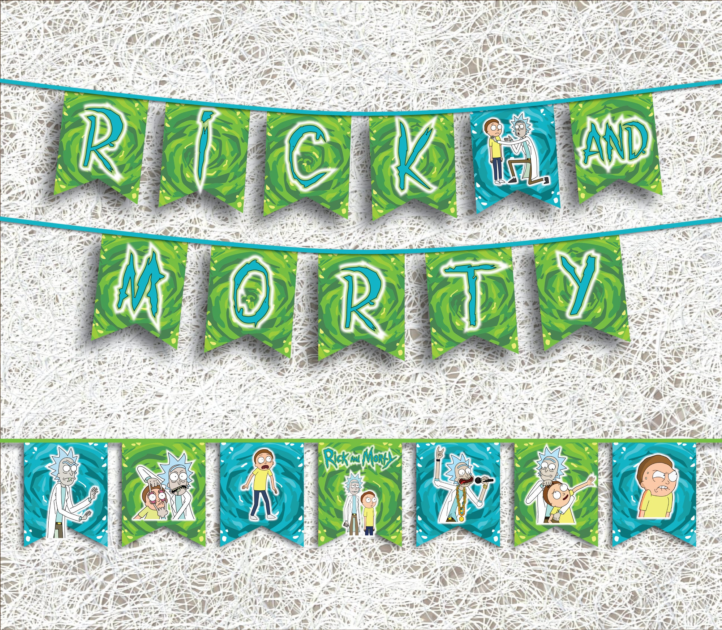 Rick and Morty Inspired Banner PRINTABLE Party Supplies Pdf