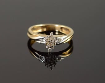 10k 0.05 CTW Diamond Cluster Ring Gold