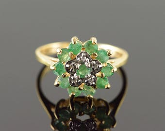 14k 0.36 CTW Emerald Diamond Cluster Halo Ring Gold