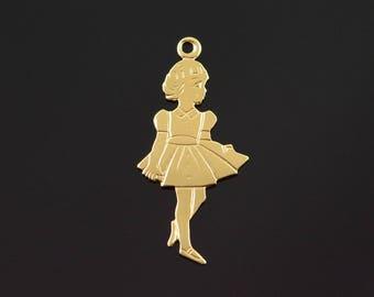 14k 1950's Dress Girl Female Birth Year Charm/Pendant Gold