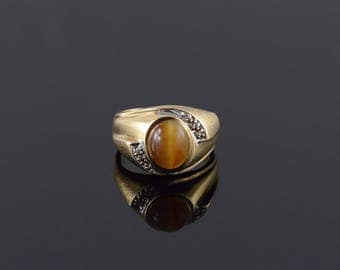 10k Retro Tiger Eye Diamond Oval Cabochon Wavy Ring Gold