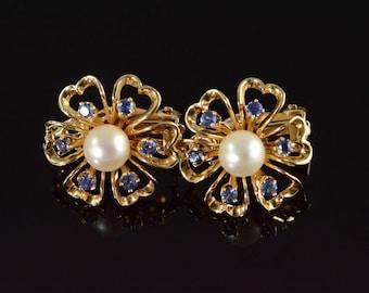 14k 6mm Pearl 0.30 CTW Sapphire Flower Clip On Earrings Gold