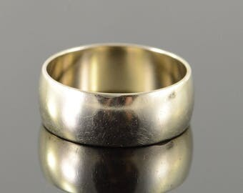 14k 8mm Wide Wedding Band Men's Ring Gold