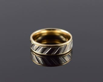 14k 5.9mm Textured Fancy Engraved Wedding Band Ring Gold