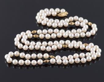 14k 7mm Cultured Pearl Strand String Beaded Necklace Gold 40""