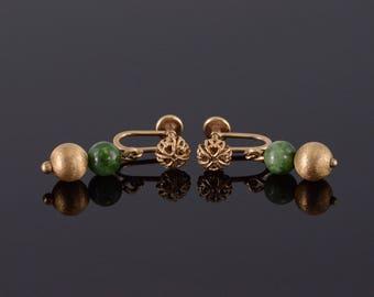 14k Natural Green Stone Ball Textured Beaded Screw Earrings Gold