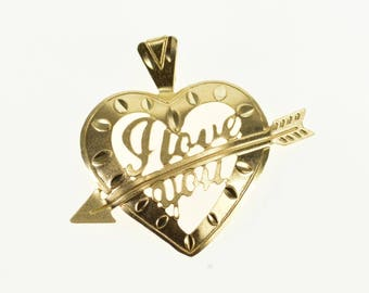 14k Satin Finish I Love You Arrow Heart Charm/Pendant Gold