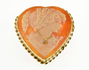 14k Heart Cut Carved Shell Cameo Diamond Necklace Pendant/Pin Gold