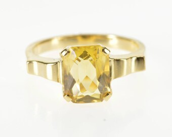 14K Prong Citrine Solitaire Wavy Squared Design Ring Size 6.5 Yellow Gold