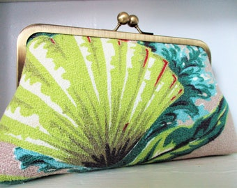 """Chartreuse Turquoise Pink Shell Coral Seaweed Vintage Barkcloth Fabric 8"""" Antique Brass Kisslock Frame Clutch Wristlet Crossbody Purse Bag"""