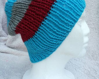 Blue, red and grey striped hat