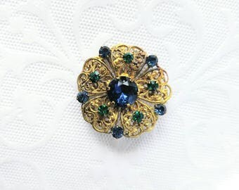 BEAUTIFUL Czechoslovakia Brooch/Pin-Vintage/Antique-Tarnished Gold with Blue/Green Jewels/Stones-Faceted-Filigree-Glass-Only 99c Shipping!