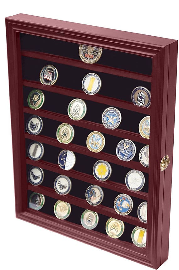 Decomil military challenge coin display case cabinet rack for Grandi case cabinate