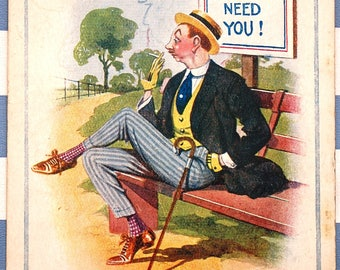 Rare Antique Donald McGill Postcard 25 April 1916