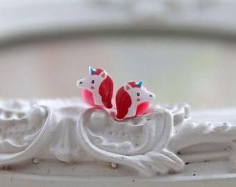 Unicorn plugs  gauges 2mm 12G stretched ears  cute animal kawaii retro pink rainbow