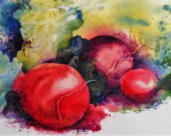 """Original Signed Watercolor, """"Bountiful Harvest"""" Sold with free shipping to US!"""