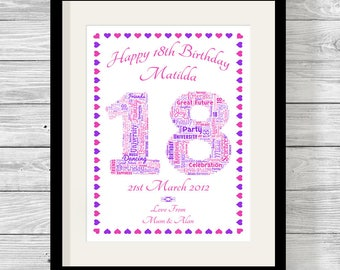 Personalised Birthday Number Word Art Print Bespoke Typography Digital, Print or Framed. Any Number
