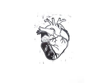 Heart - handprinted linocut