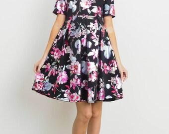 Hello Miz Foil Floral Print Front Pleat Maternity Dress