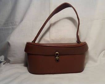 Vintage 1960's Brown Leather Handbag - NEW
