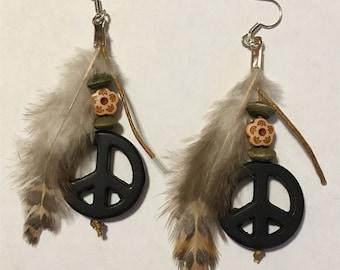 Peace Symbol Bohemian Feather Earrings